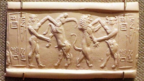 Ea wrestling with a water buffalo and Enkidu fighting with a lion. (Sailko / Public Domain)