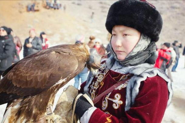FIG 2.3. Eagle huntress at Nura Eagle Festival, Kazakhstan, 2013