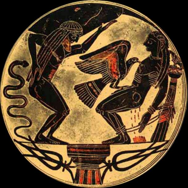 Eagle tears out Prometheus' liver out every day for all time. Laconic bowl (~550 BC) (Karl Ludwig Poggemann,