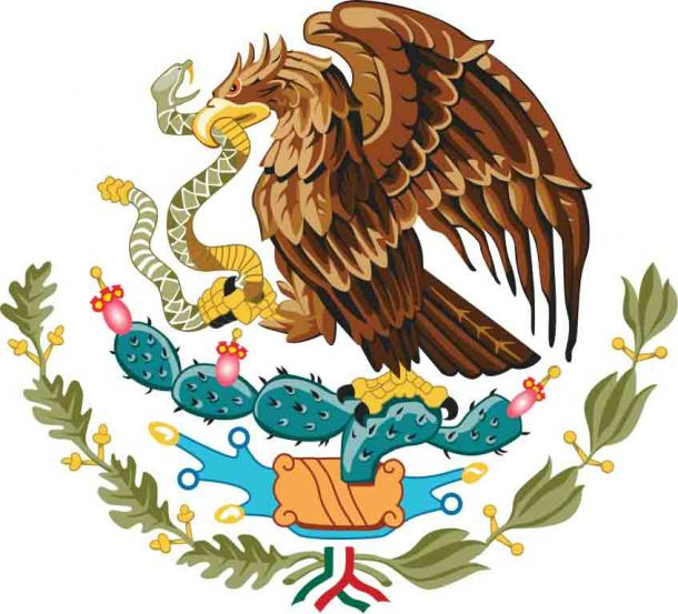 The Mexican coat of arms depicts a golden eagle perched on a prickly pear cactus devouring a rattlesnake. (Public domain)