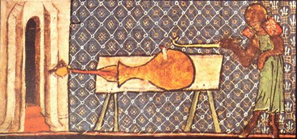 Earliest picture of a European cannon, Walter de Milemete, 1326