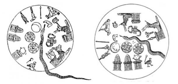 Early Babylonian Kudurru-reliefs of zodiacal symbols within the heavenly circle surrounding an undulating serpent representing the Milky Way. Shown are three classic planetary symbols of Sumero-Mesopotamian religious art: the Moon (crescent), Sun (estoile) and Venus (octactinal star). (Author provided)