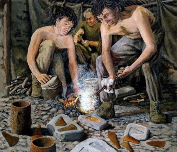Early Bronze Age ('Beaker') metal-worker about 2000 BC; by Paul Jenkins, about 1980.
