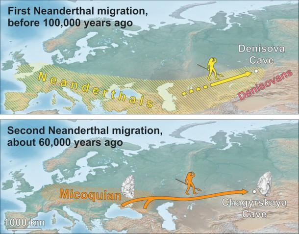Early and later Neanderthal dispersals to southern Siberia. Kseniya Kolobova / Maciej Krajcarz / Victor Chabai, Author provided