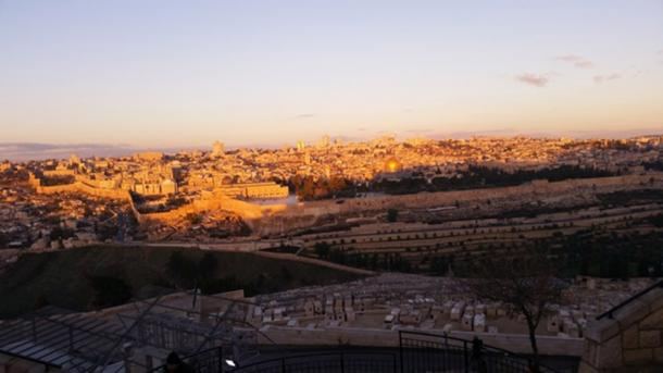 Early morning on the Mount of Olives looking over the old city of Jeruasalem