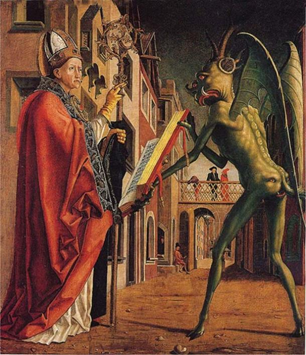 Early science fiction novels pondered the idea of what extraterrestrials might look like. 'Saint Wolfgang and the devil'