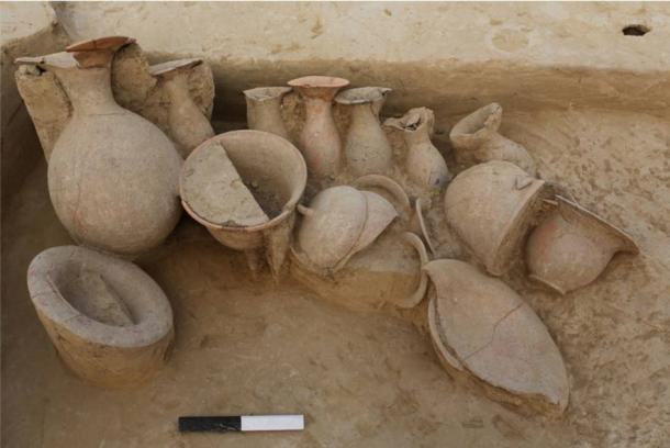 Earthen pots found at a burial site from the late Indus Valley civilization period in the village of Chandayan, in the northern Indian state of Uttar Pradesh.
