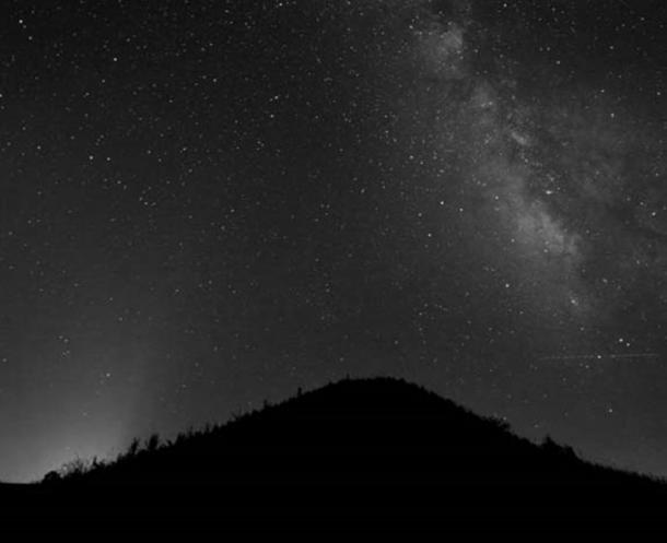 Earth's Milky Way Galaxy over Mound A at Poverty Point, Louisiana, which was built circa 1400 AD.