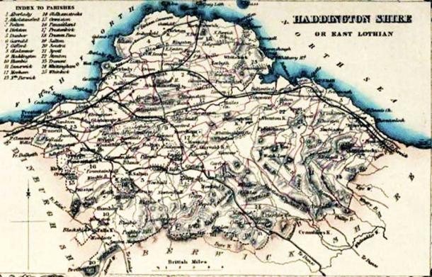 East Lothian or Haddingtonshire Civil Parish map.