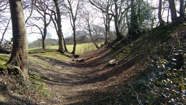 East ramparts of the Buckland Rings hilltop fort, Lymington