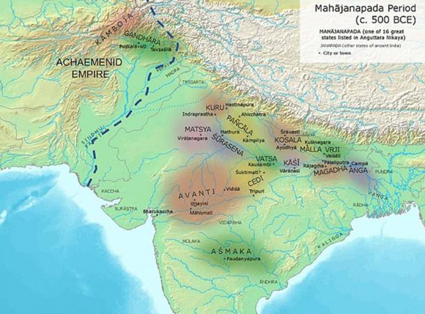 Eastern border of the Achaemenid Empire and ancient kingdoms and cities of India. (Avantiputra7 / CC BY-SA 3.0)