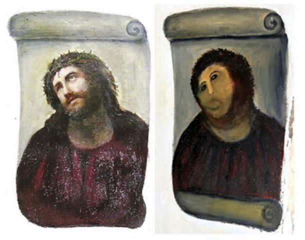 Ecce Homo by Elias Garcia Martinez was destroyed in 2012 by a botched restoration attempt. (Left; Public Domain. Right; CC BY-NC-SA 2.0)