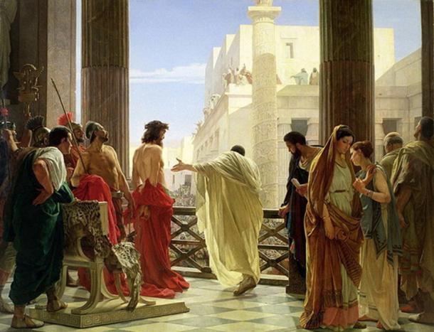 Ecco Homo (Behold, the Man) by Antonio Ciseri shows Pontius Pilot presenting Jesus to the masses. (Public Domain)