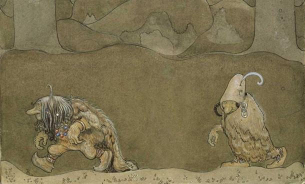 Edited Painting by John Bauer of two trolls