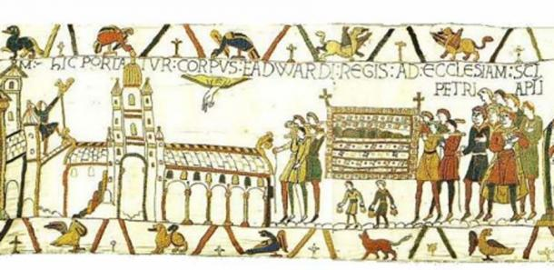 Edward's funeral depicted in scene 26 of the Bayeux Tapestry. (Public Domain)