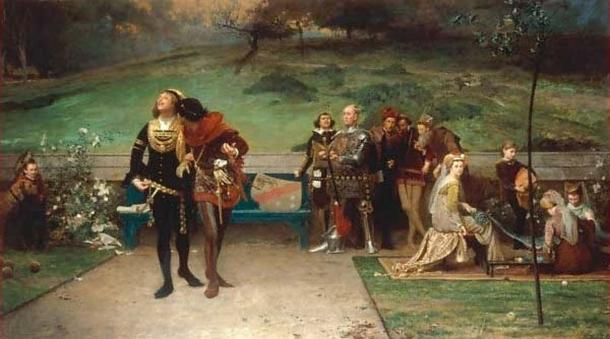 The painting 'Edward II and his Favourite, Piers Gaveston' (1872) by Marcus Stone. (Public Domain)