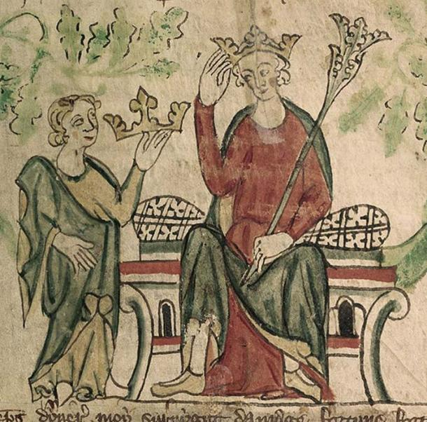 Edward II shown receiving the English crown in a contemporary illustration. (British Library / Public Domain)