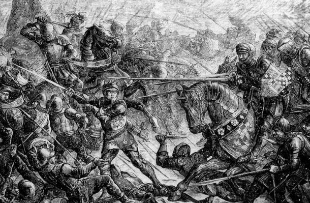 Engraving of Edward IV extolls his troops to fight their Lancastrian foes at the Battle of Towton, 29 March 1461