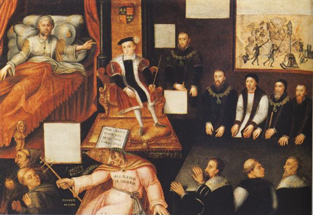 """""""Edward VI and the Pope: An Allegory of the Reformation."""" By an unknown artist. (c. 1547 to 1570s) National Portrait Gallery, London."""