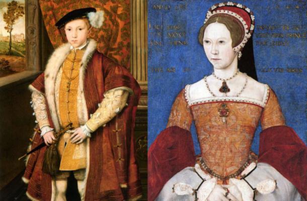 Edward VI of England (circa 1546) (Public Domain) and Mary I (1544). (Public Domain)