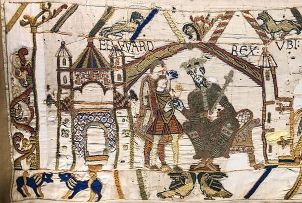 Edward the Confessor and Harold II of England depicted on the Bayeux Tapestry