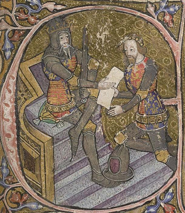 Edward, the Black Prince, is granted Aquitaine by his father King Edward III.