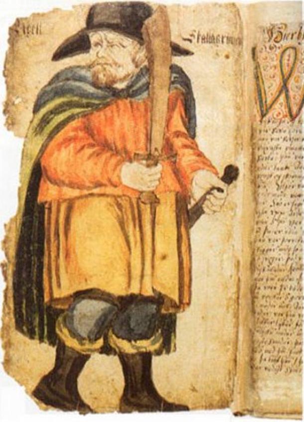 Egill Skallagrímsson in a 17th-century manuscript of the Egils Saga.