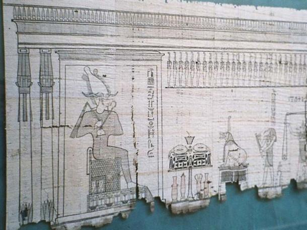 A section of the Egyptian 'Book of the Dead' written on papyrus.