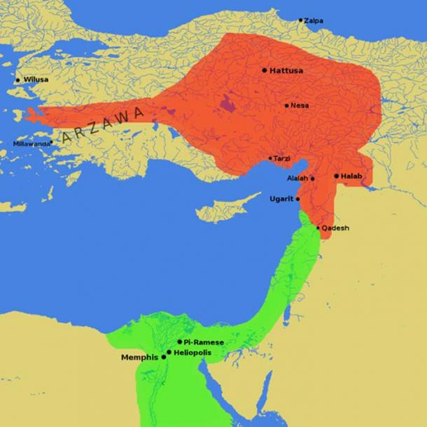 The Egyptian Empire under Ramesses II (green) bordering on the Hittite Empire (red) at the height of its power in ca. 1279 BC