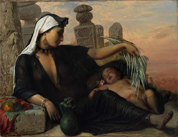 Egyptian Fellah woman with her child, Elisabeth Jerichau-Baumann, 1872. ( CC BY 3.0 )
