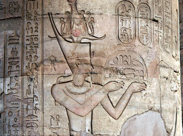 Egyptian King Ptolemy XII Auletes, father to Cleopatra. Temple of Kom Ombo.