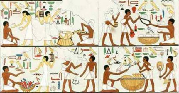Egyptian Old Kingdom market scene: Two of the customers are seen carrying little boxes on their shoulders, suspected to have contained pieces of metal used as payment.