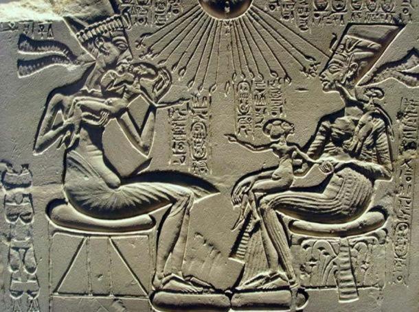 Egyptian Pharaoh Akhenaten, wife Nefertiti, and their children.