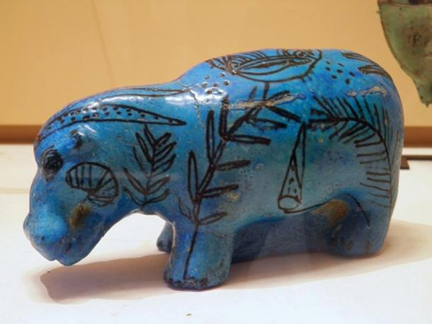 Egyptian blue was widely used by ancient Egyptians as a ceramic glaze known as faience, shown in this hippopotamus figurine.