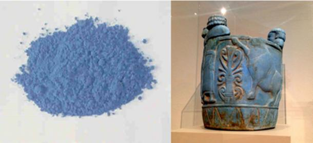 "Left: Egyptian blue, also known as calcium copper silicate, or CaCuSi4O10, or cuprorivaite, is considered to be the first synthetic pigment ever developed. (Public Domain) Right: Pyxis in ""Egyptian blue"" produced 750-700 BC, on display at Altes Museum in Berlin) (CC BY-SA 4.0)"