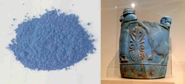 """Left: Egyptian blue, also known as calcium copper silicate, or CaCuSi4O10, or cuprorivaite, is considered to be the first synthetic pigment ever developed. (Public Domain) Right: Pyxis colored """"Egyptian blue"""" produced between 750-700 BC, currently on display at the Altes Museum in Berlin. (Bairuilong/CC BY SA 4.0)"""