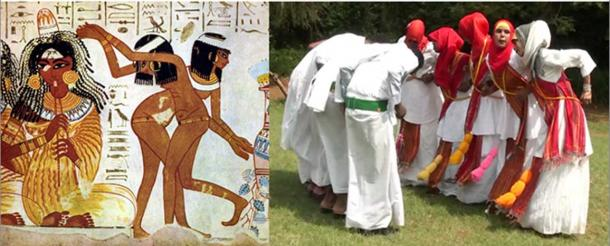 Left: Ancient Egyptian dancers and flutist. (Public Domain) Right: Young Somali women and men performing the traditional dhaanto dance-song in Jubaland.