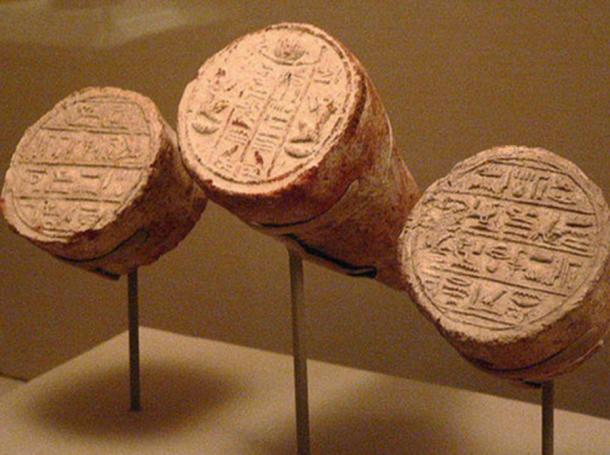 Egyptian funerary cones of Mentuemhet with hieroglyphic script 650 BC.