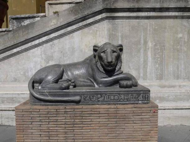 An Egyptian lion statue.