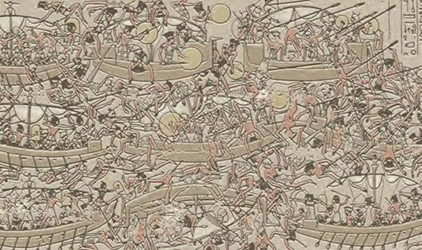 A large relief shows the Egyptian navy fighting the Sea Peoples during the reign of Ramesses II.