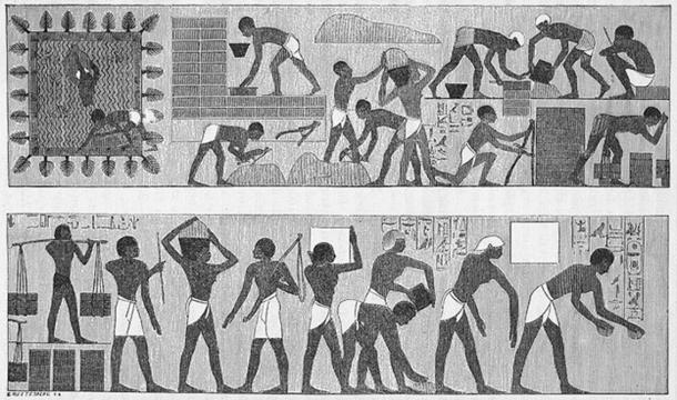 Egyptian prisoners working as slaves in a wall painting from a grave at Thebes.