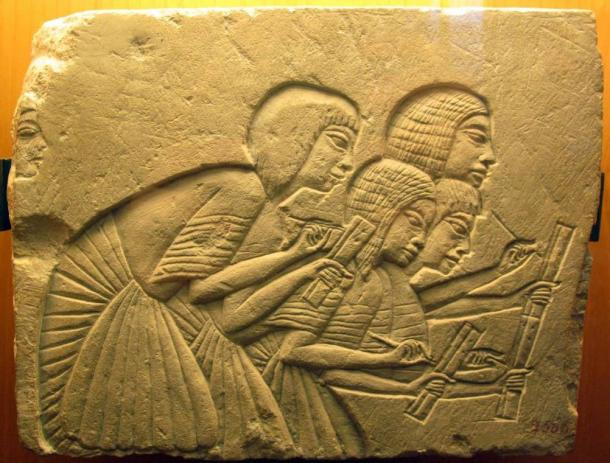 Four ancient Egyptian scribes from the Amarna period