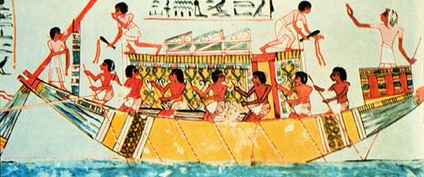 """Egyptian tomb painting from 1450 BC. Caption: """"Officer with sounding pole...is telling crew to come ahead slow. Engineers with cat-o'-nine-tails assuring proper response from engines."""""""