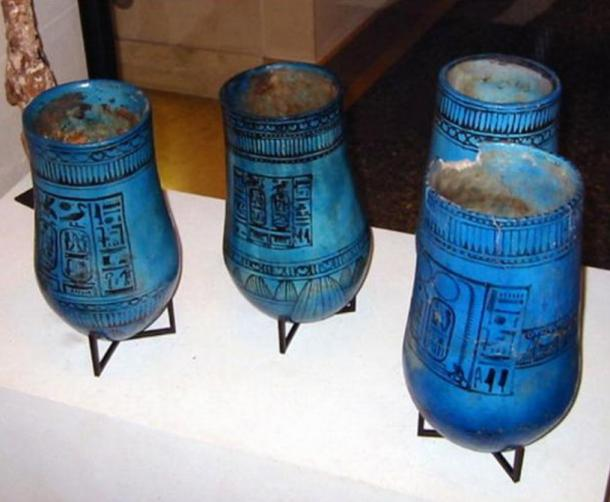 Egyptian vases with the name of Ramesses II.