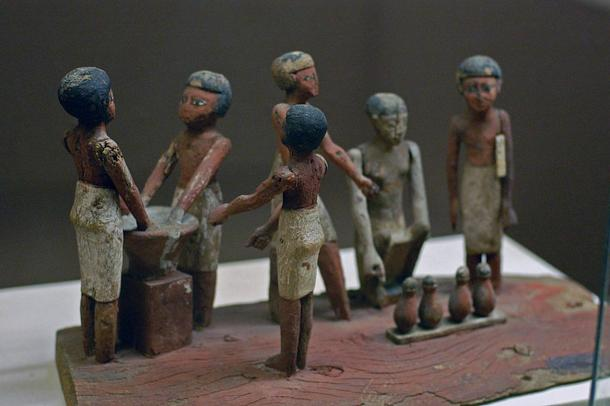 Egyptian wooden model of beer making in ancient Egypt.