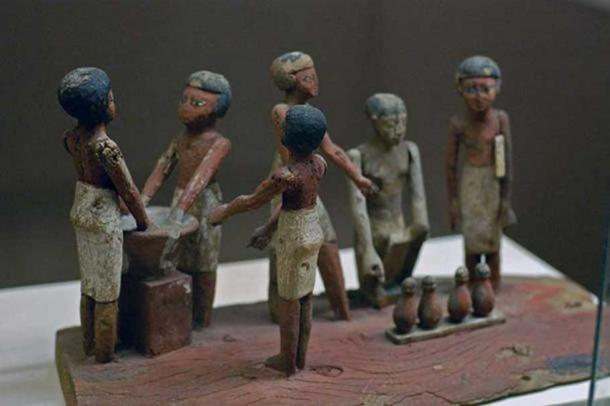 Egyptian wooden model of beer making in ancient Egypt