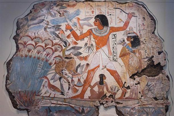 Ancient Egyptian hunting scene from Tomb of Nebamun. Millions of animal and bird mummies have been discovered in Egypt, and meaning that the hunting of birds for religious rituals was very common. (Paul Hudson / CC BY 2.0)