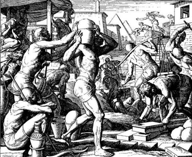 The Egyptians Afflicted the Israelites with Burdens (woodcut by Julius Schnorr von Carolsfeld from the 1860 Die Bibel in Bildern).