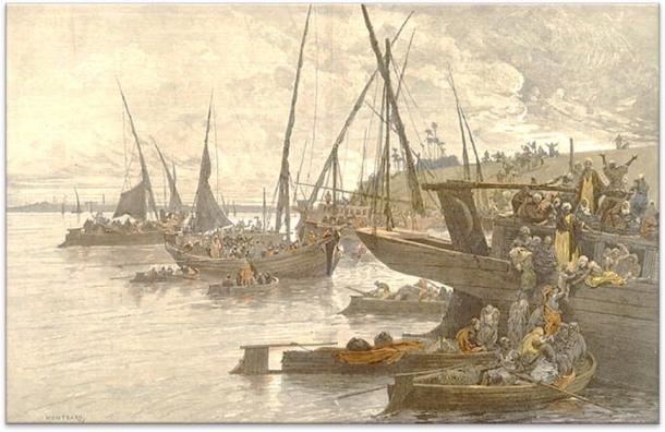 Egyptians boarding boats on the Nile during a cholera epidemic, drawn by CL Auguste (1841-1905). Wellcome Collection