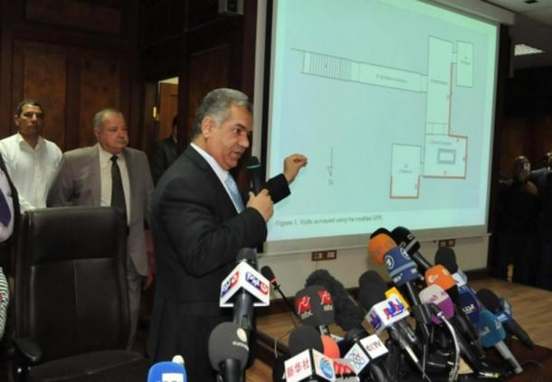 Egypt's Ministry of Antiquities Dr. Mamdouh Eldamaty during the press conference in March.